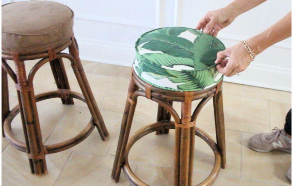 How To Reupholster A Barstool Diy Bar Stools Reupholster Diy