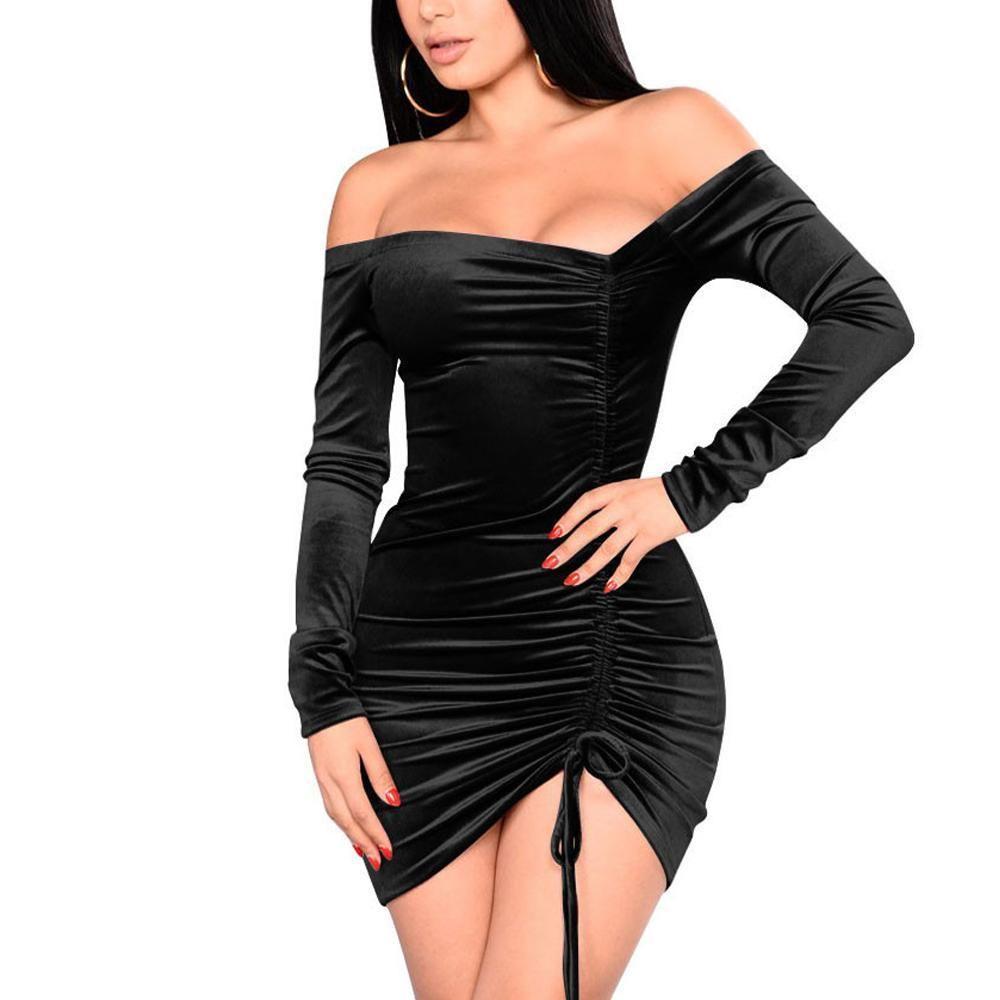 Going out black velvet long sleeve bodycon dress skirt cotton