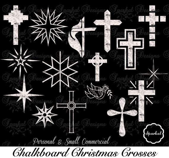 Christmas Cross Chalkboard Clipart Star By