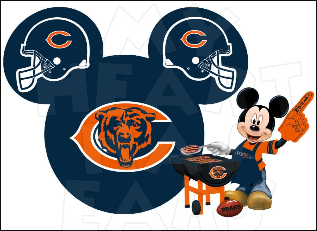 chicago bears football with mickey mouse instant download digital rh pinterest com Chicago Bears Logo Chicago Bears Wallpaper