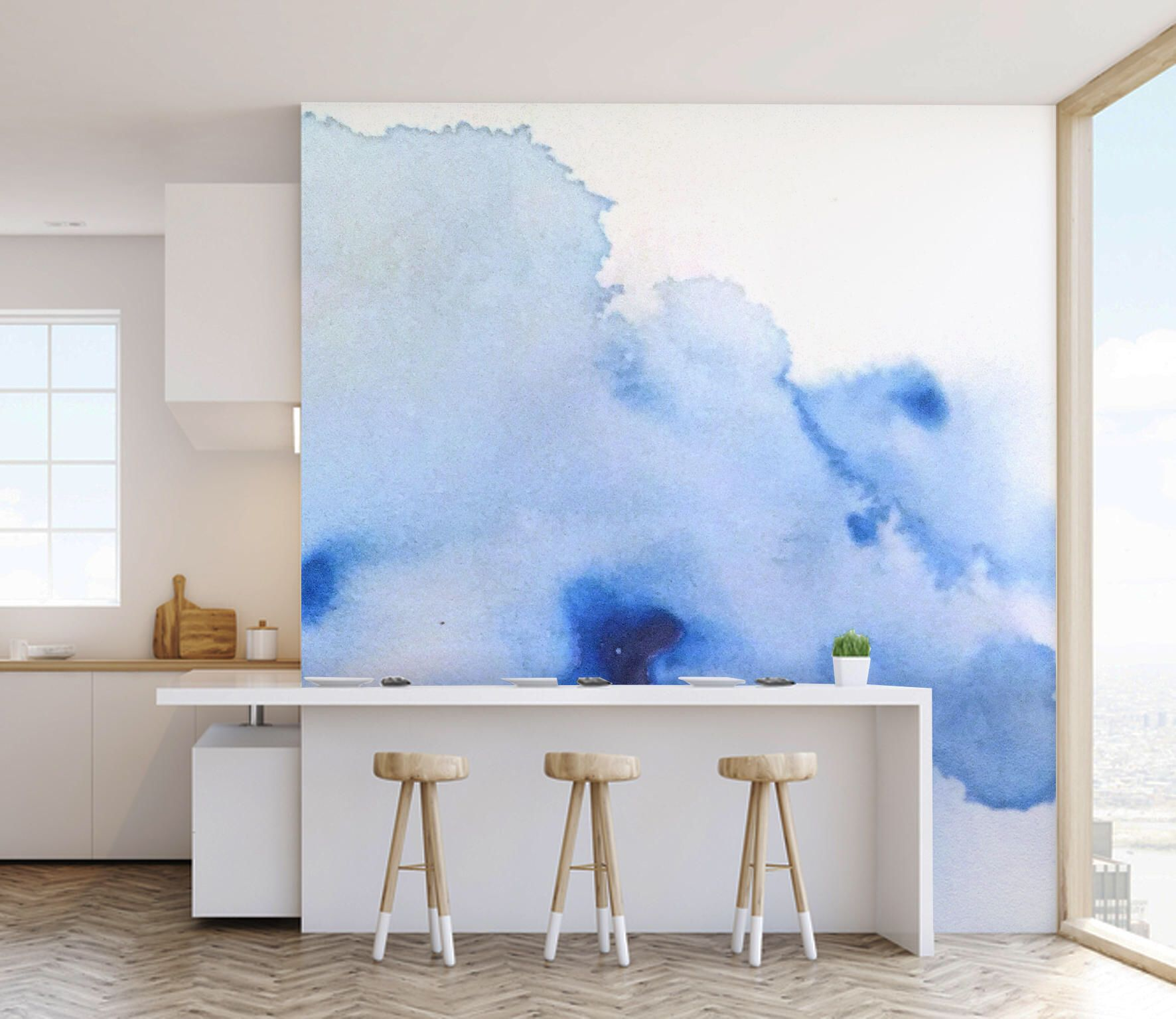 Watercolour Wash Wall Mural, Paste and Glue or Self
