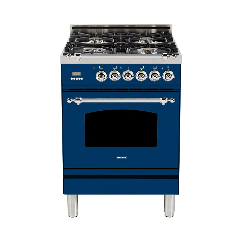 Single Oven Italian Gas Range With True Convection 4 Burners Lp Gas Chrome Trim In Blue