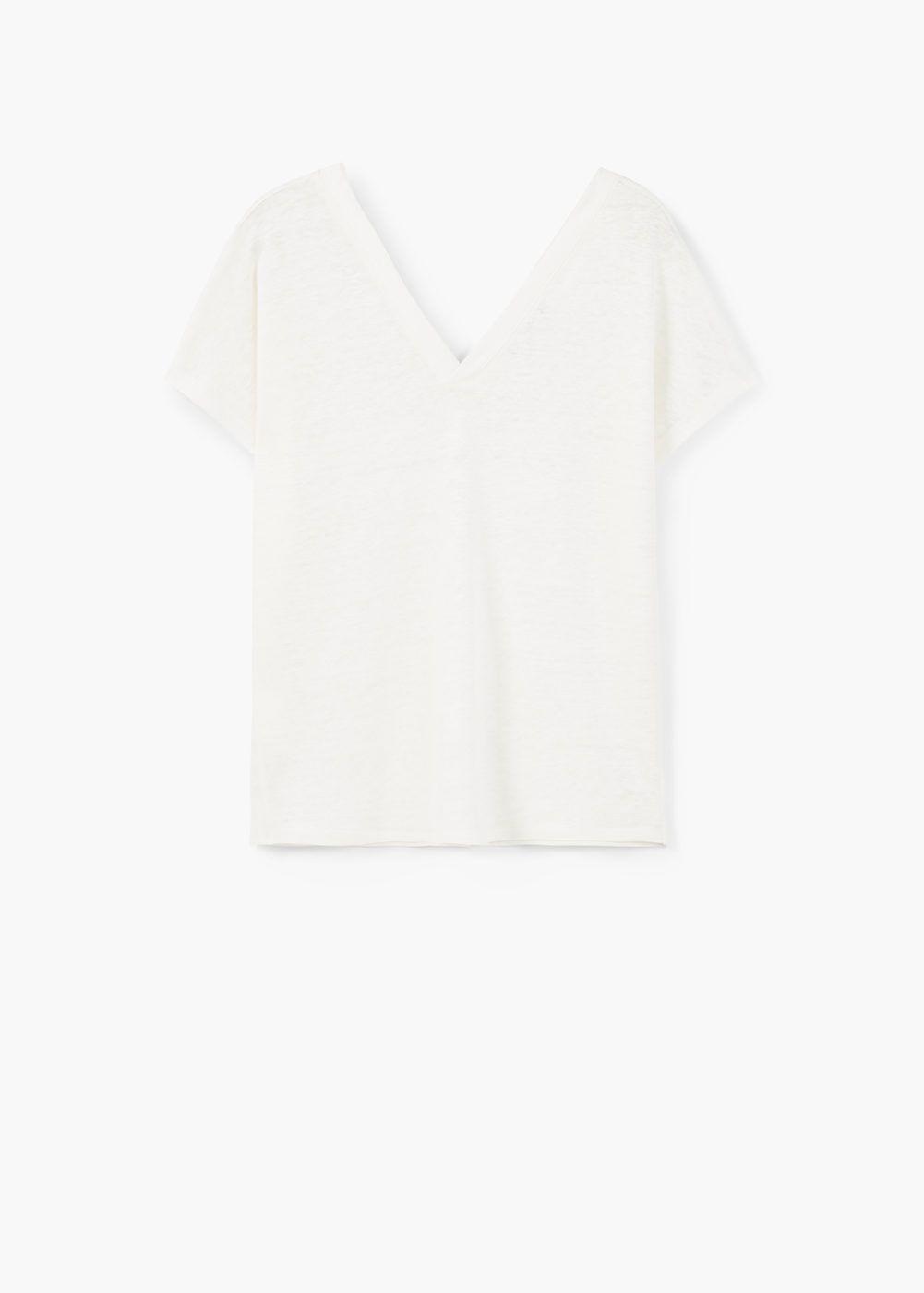 Maglietta lino - Magliette da Donna | MANGO