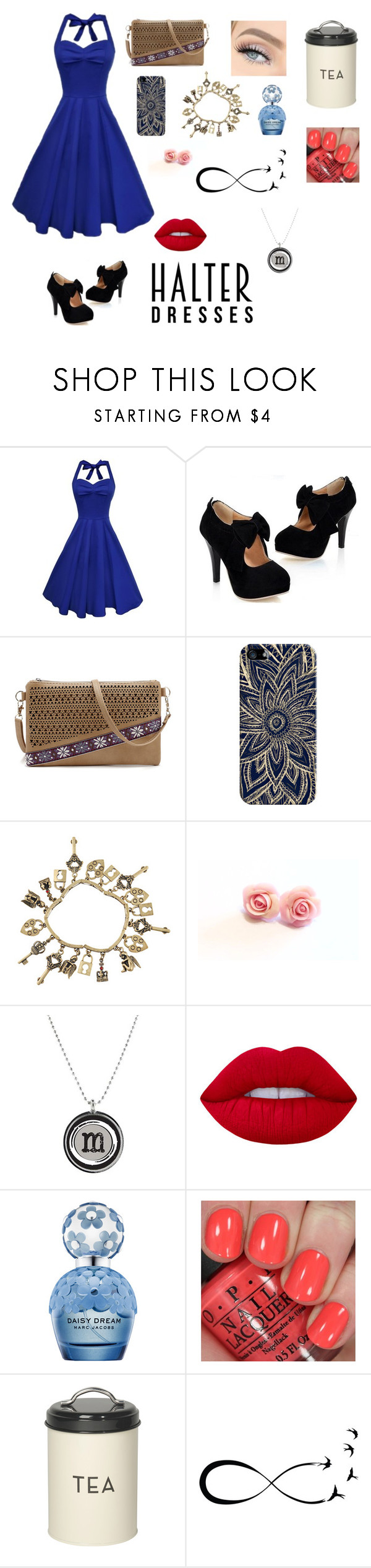 """""""Halter dresses contest"""" by chloe-maus ❤ liked on Polyvore featuring Casetify, Chicnova Fashion, Lime Crime, Marc Jacobs, OPI, Dot & Bo and halterdresses"""