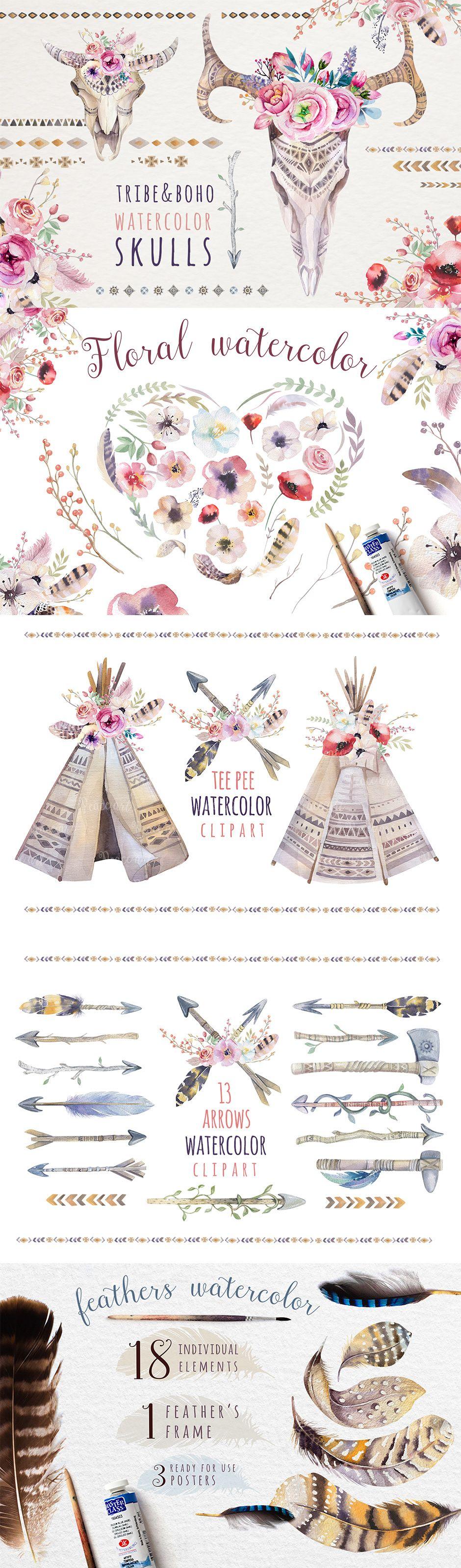 Boho Tribe and Flowers Bundle - https://www.designcuts.com/product/boho-tribe-and-flowers-bundle/