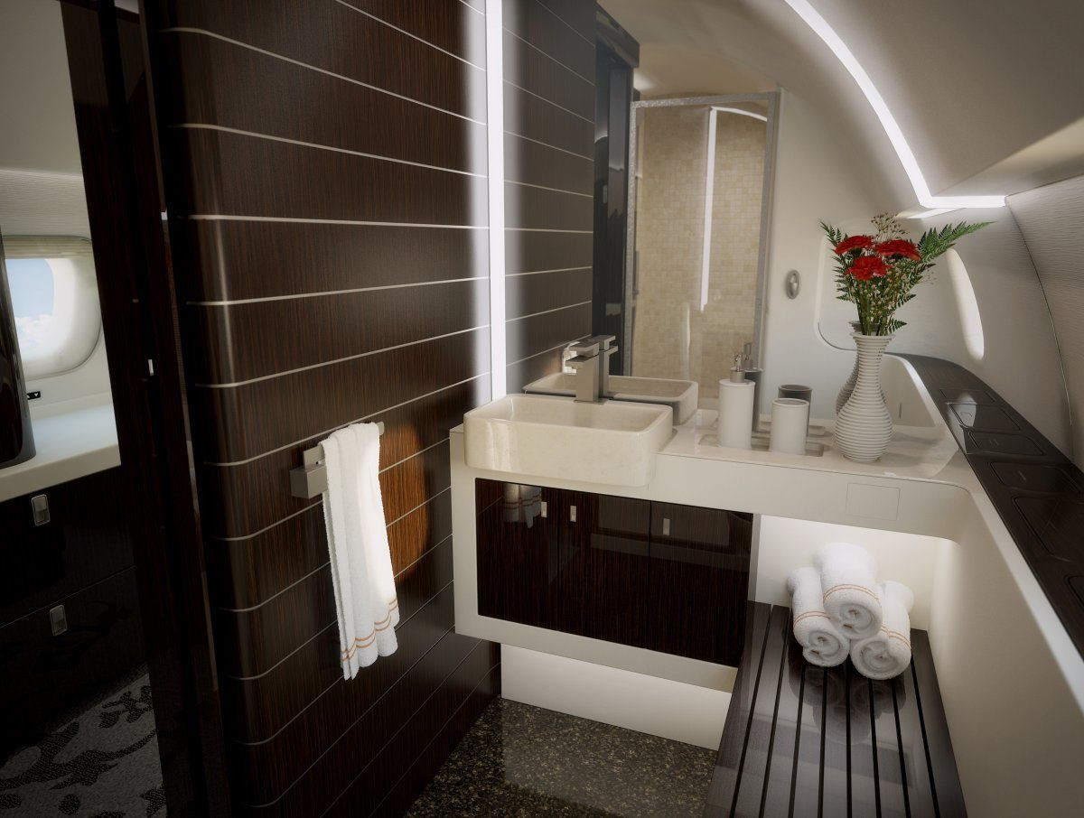 This stunning private jet with 5 separate rooms is as