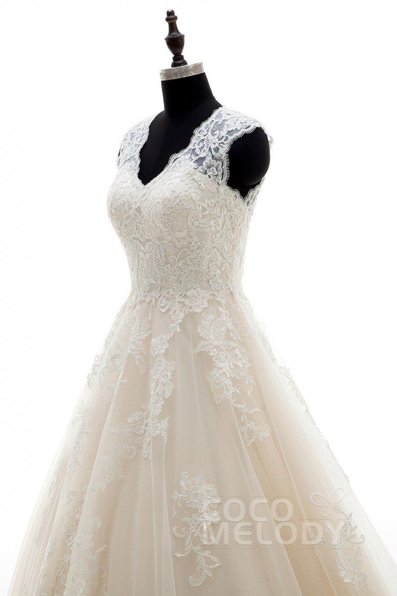 Aline court train tulle and lace wedding dress appliques lwxt