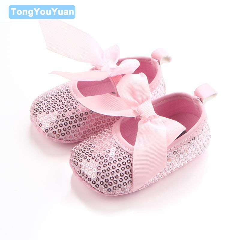 Beautiful Bling Butterfly-knot Shallow Soft Sole Shoes Toddler Baby Girl  Prewalker Non-slip 404d317e7754