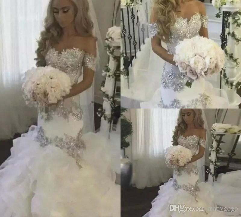 2018 Bling Crystal Mermaid Wedding Dresses Ruffle Tiered Off Shoulder Sweep Train  Sexy Country Wedding Gowns ec67ec817fd5