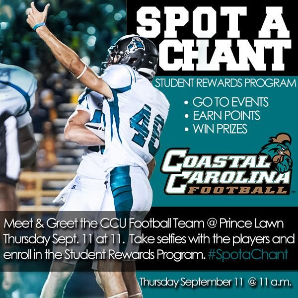 Cool Social Media Event That Ccu Football Put On Student Rewards Rewards Program Football