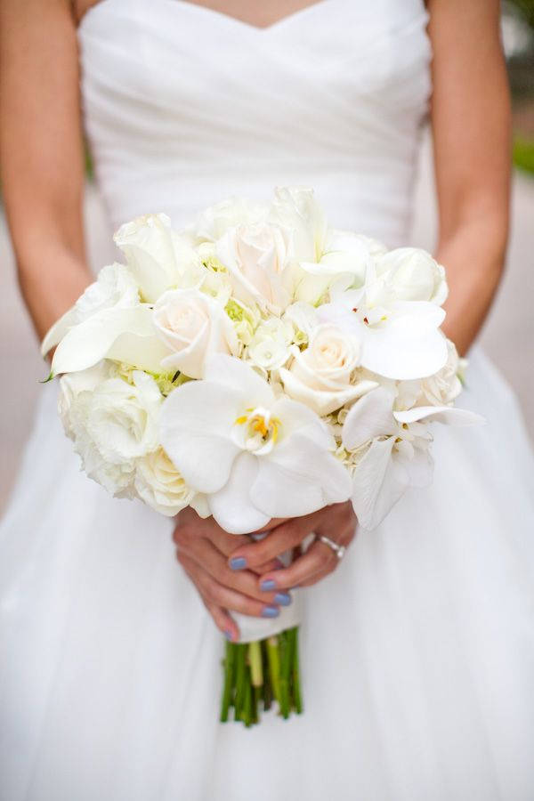 White And Cream Colored Wedding Bouquet With Phalaenopsis Orchids