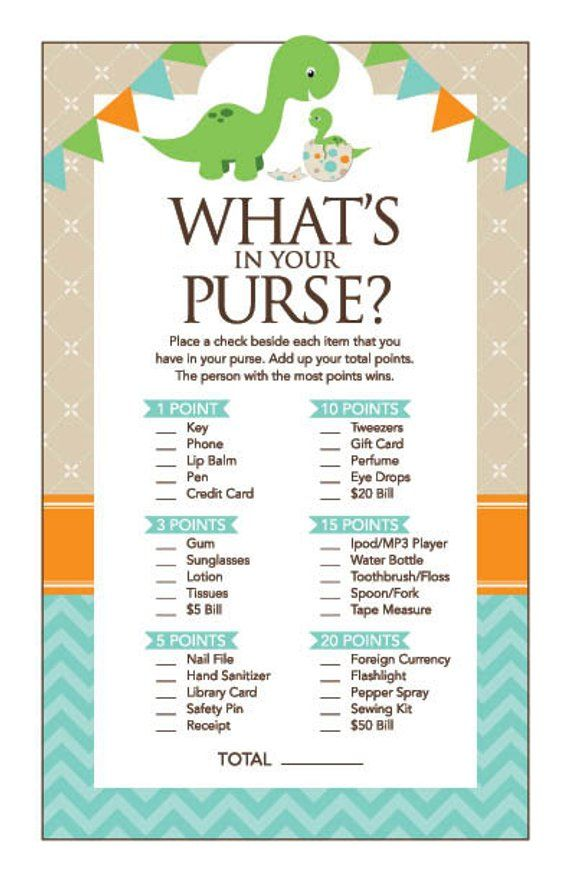 Instant Download Dinosaur What S In Your Purse Baby Shower Game
