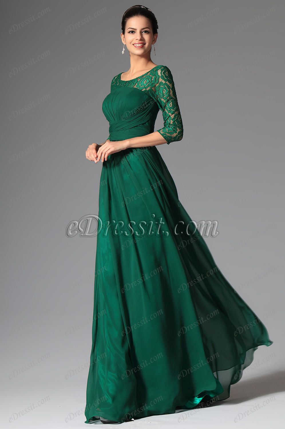 Elegant Lace Sleeves Dark Green Mother Of The Bride Dress 26148204