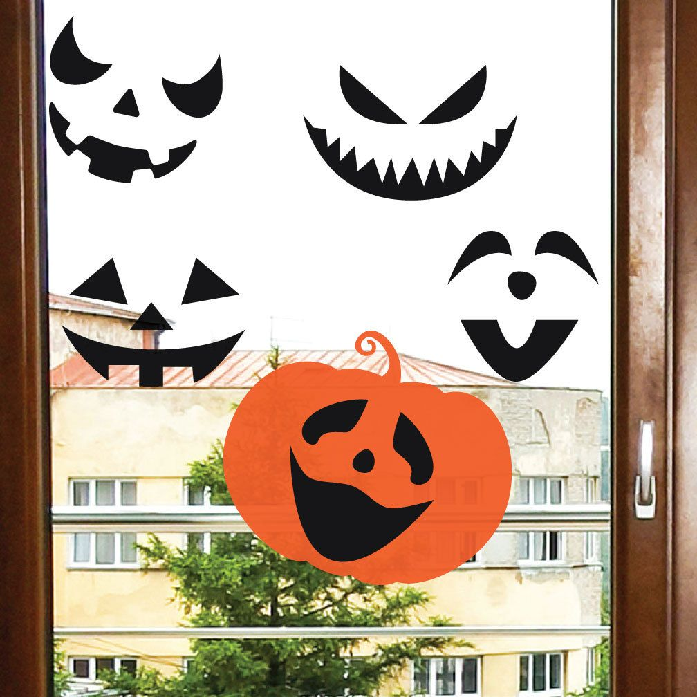 REUSABLE - Pumpkin Faces - Window Cling - Halloween Decor - Window Halloween Decorations