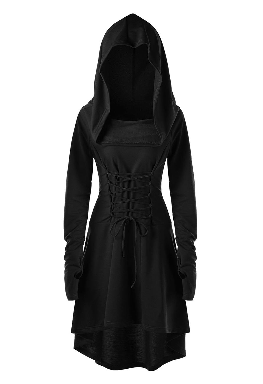 Nouveau Produit Sweater Dress With Hood Loose Collar Lace Up And Long Sleeves Witchy Gothic Vous Ai Long Sleeve High Low Dress Long Hoodie Dress Hoodie Dress [ 1300 x 891 Pixel ]