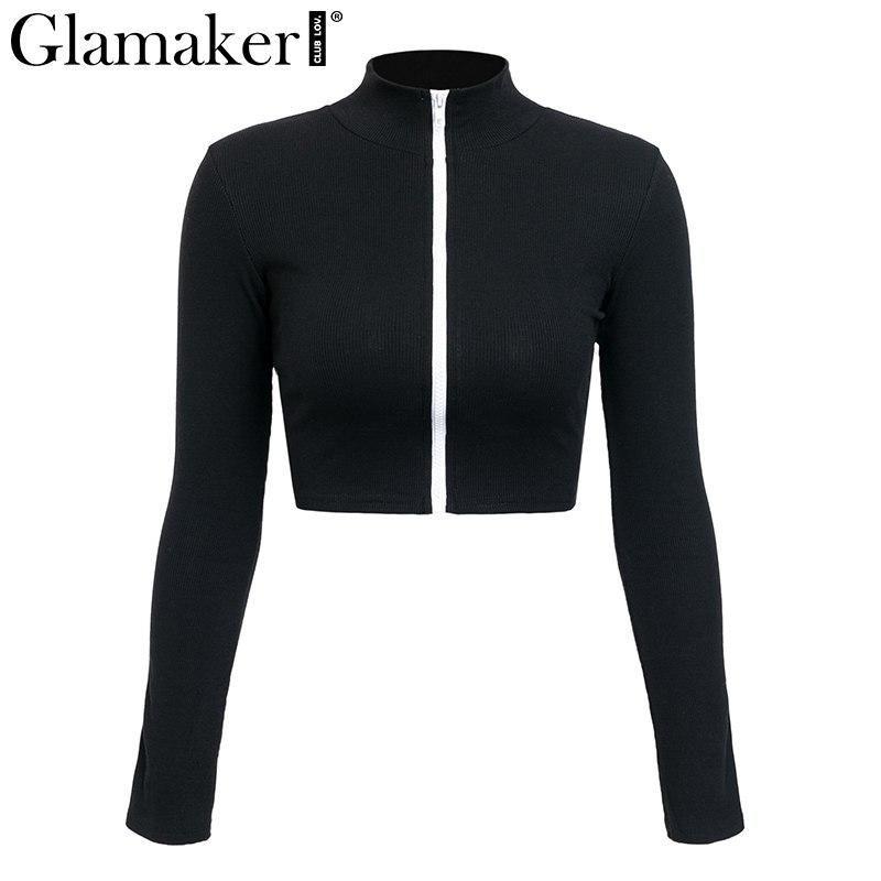 7fdaa91e Glamaker Turtleneck long sleeve panelled tops Women zipper stripe ...