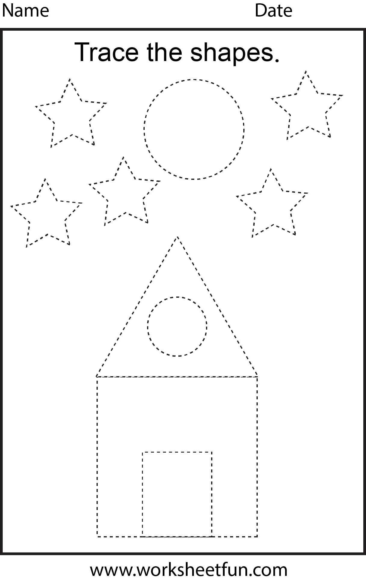 Free printable preschool worksheets - This one is trace the shapes ...