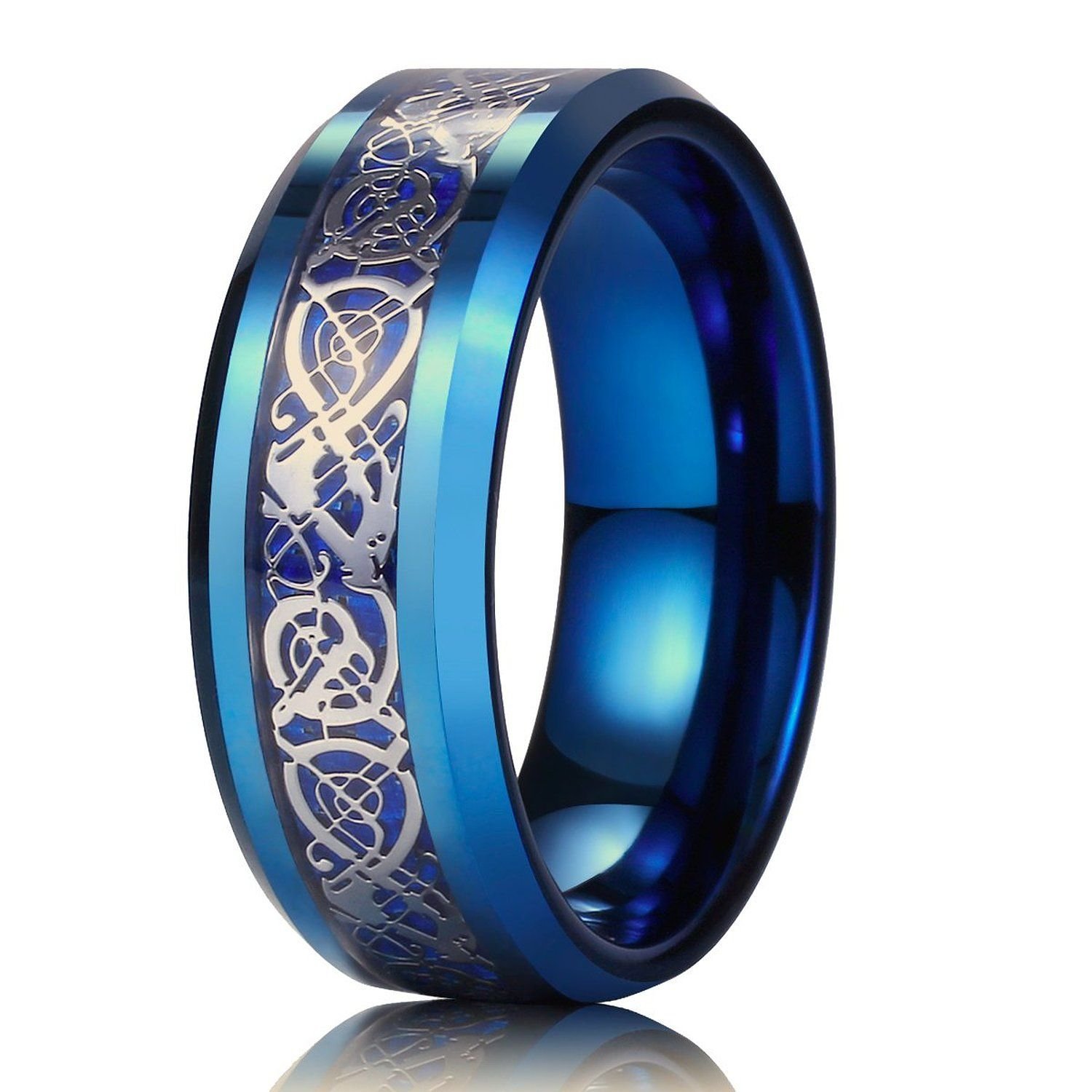 King Will Men Women 8mm Tungsten Carbide Ring Blue Carbon Fiber