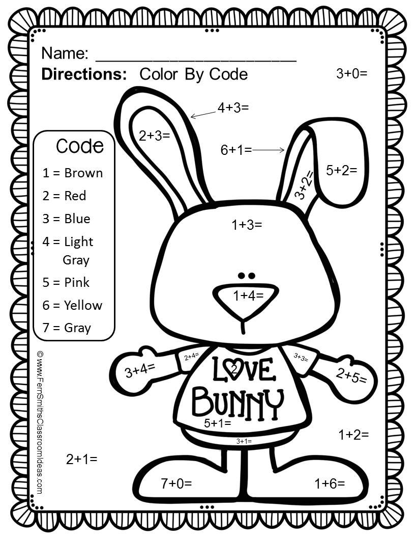 Valentine color by number printables - Color By Number St Valentine S Day Addition