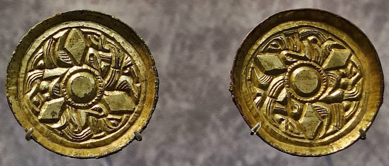 Artifacts from the Wessex Gallery. Copper alloy gilded saucer brooches, 6th century, Petersfinger Grave 19. Photograph by member Matt Bunker.