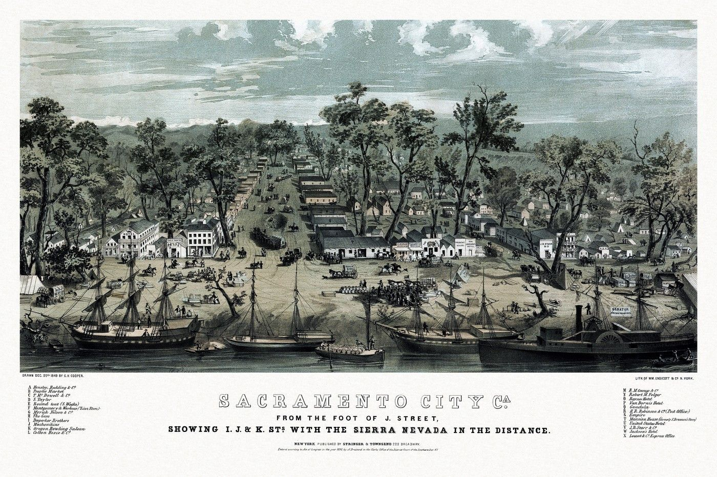 Map of Sacramento City, California from the foot of J ... Interstate Map Californai Over The Sierras on