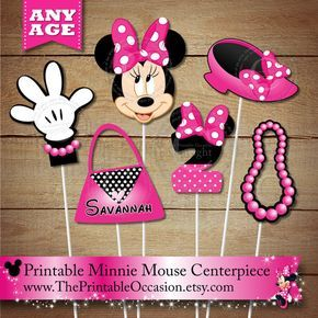 Pink Polka Dots Personalized Minnie Mouse PRINTABLE Centerpiece Set – Any Age – Minnie Mouse Centerpiece Party Printables for Birthday Party