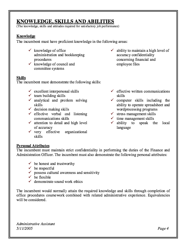 Administrative Assistant Job Description Resume (With