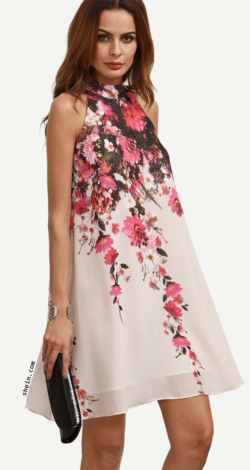 d5a33a15672a Multicolor Floral Cutout Sleeveless Shift Dress | dress | Dresses ...