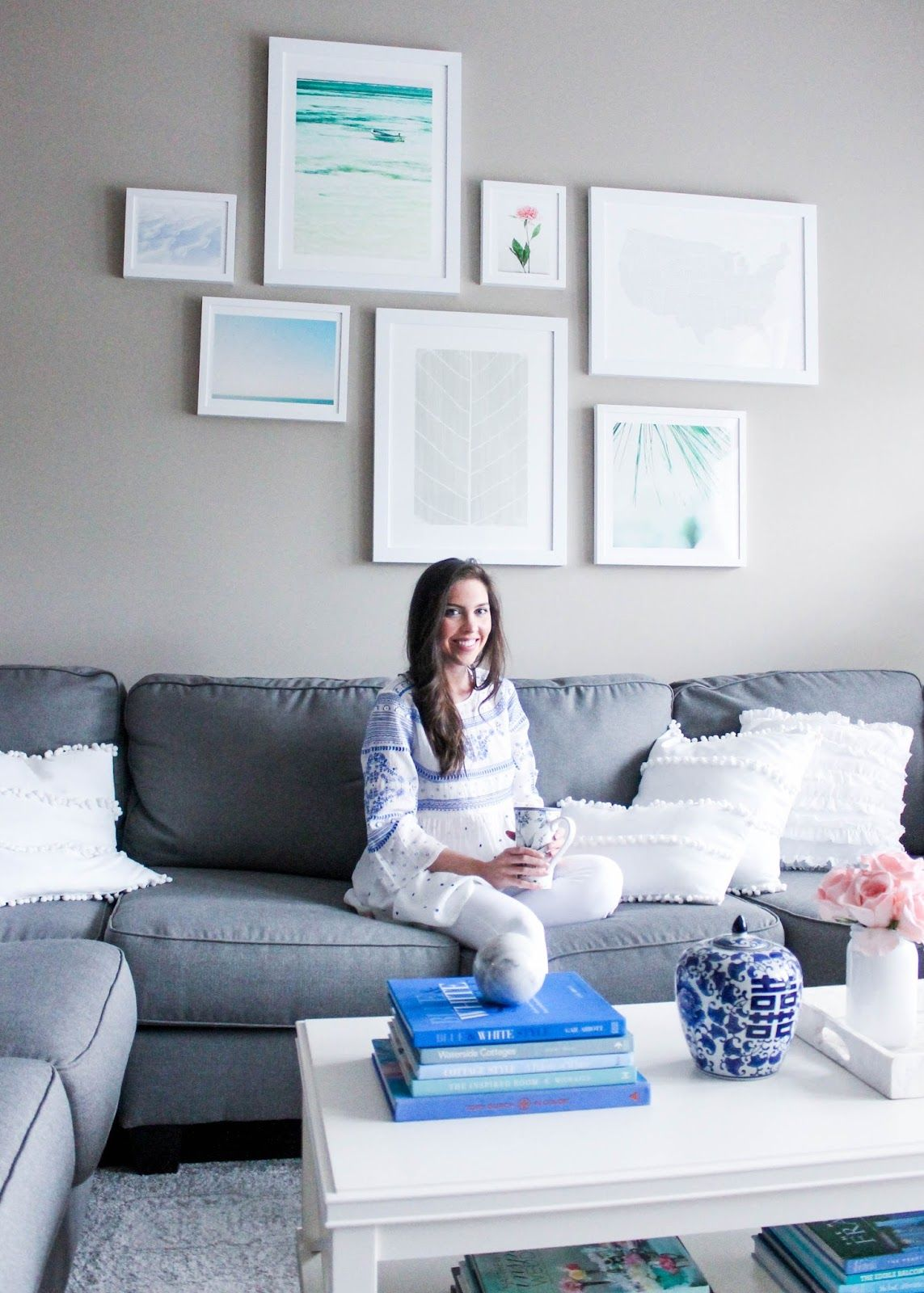 A Peek Into Our Living Room + Gallery Wall | Grey sectional sofa ...