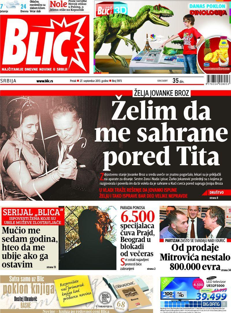 """Naslovna strana """"Blica"""" za 27. septembar 2013. Comic"""