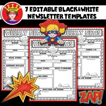 Make your weekly folders POP with this FREE Superhero Newsletter - weekly newsletter template