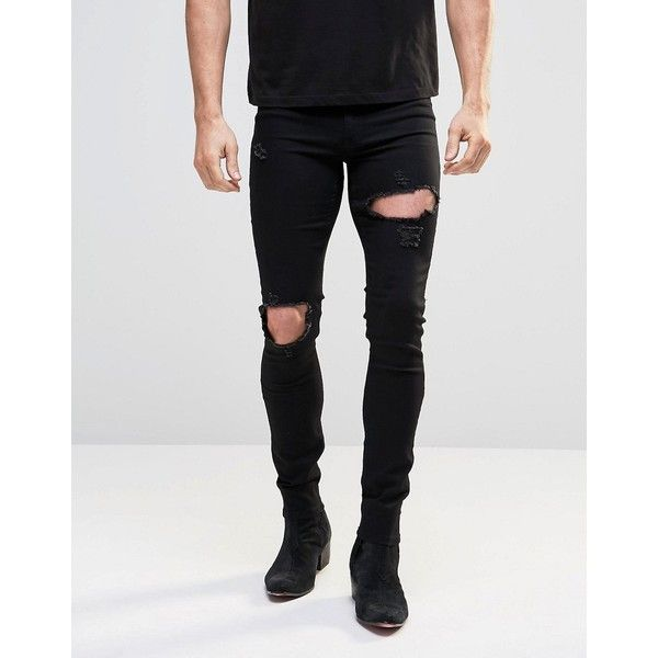 f5fd004549 ASOS Spray On Jeans With Extreme Rips In Black ($37) ❤ liked on Polyvore  featuring men's fashion, men's clothing, men's jeans, black, mens ripped  skinny ...