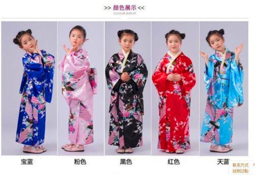 Retro//Girl Kimono Japanese Yukata Children Obi Retro Cosplay Bathrobe Dress @