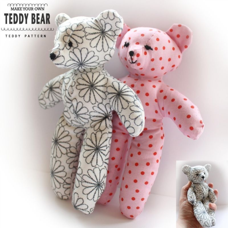 Teddy bear sewing pattern easy craft template make for Make your own teddy bear template