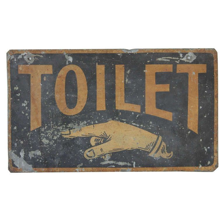 Antique Double Sided Tin Sign Toilet