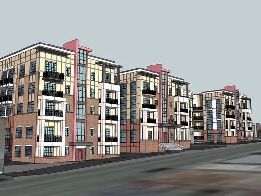 185 Coxe Ave. - Ledford Site Apartments -  Detailed Rendering - 146-unit apartment building