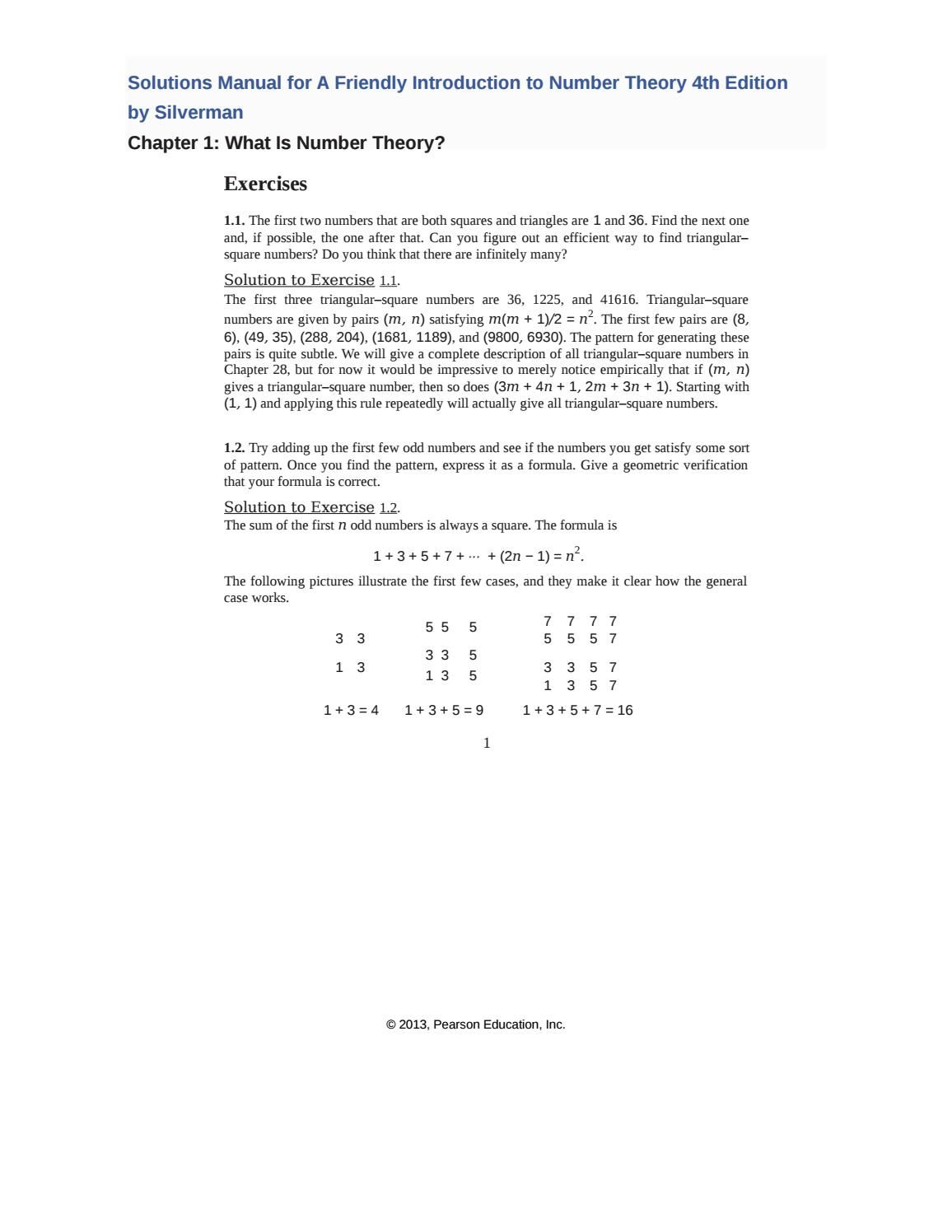 Solutions Manual For A Friendly Introduction To Number Theory 4th Edition By Silverman Number Theory Solutions Manual