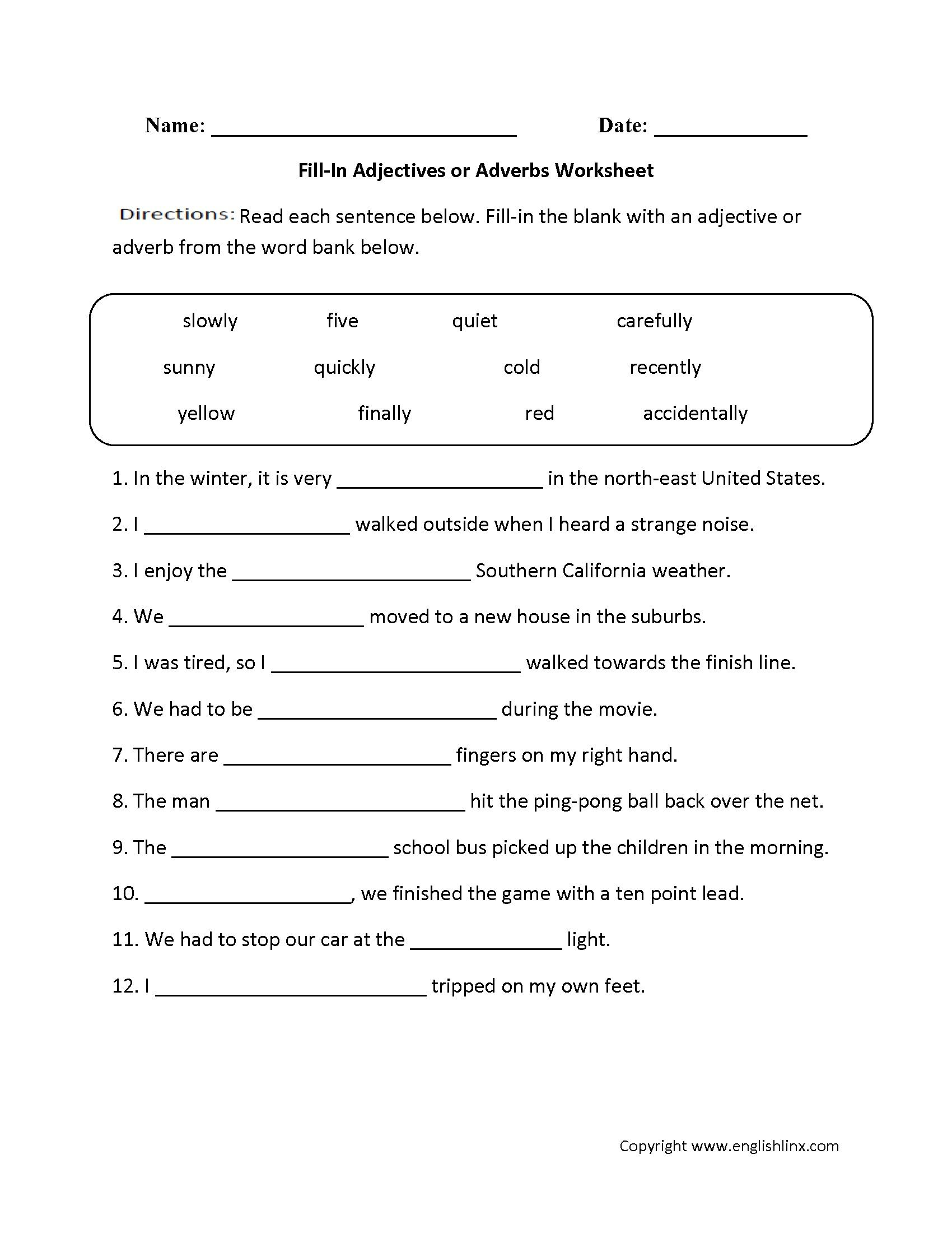 8 General Worksheets On Adjectives For Grade 1