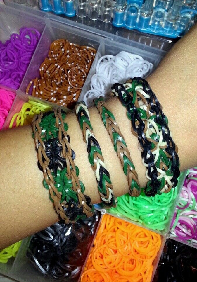 Camo/_Fishtail Rubberband Bracelet/_Ready to Ship