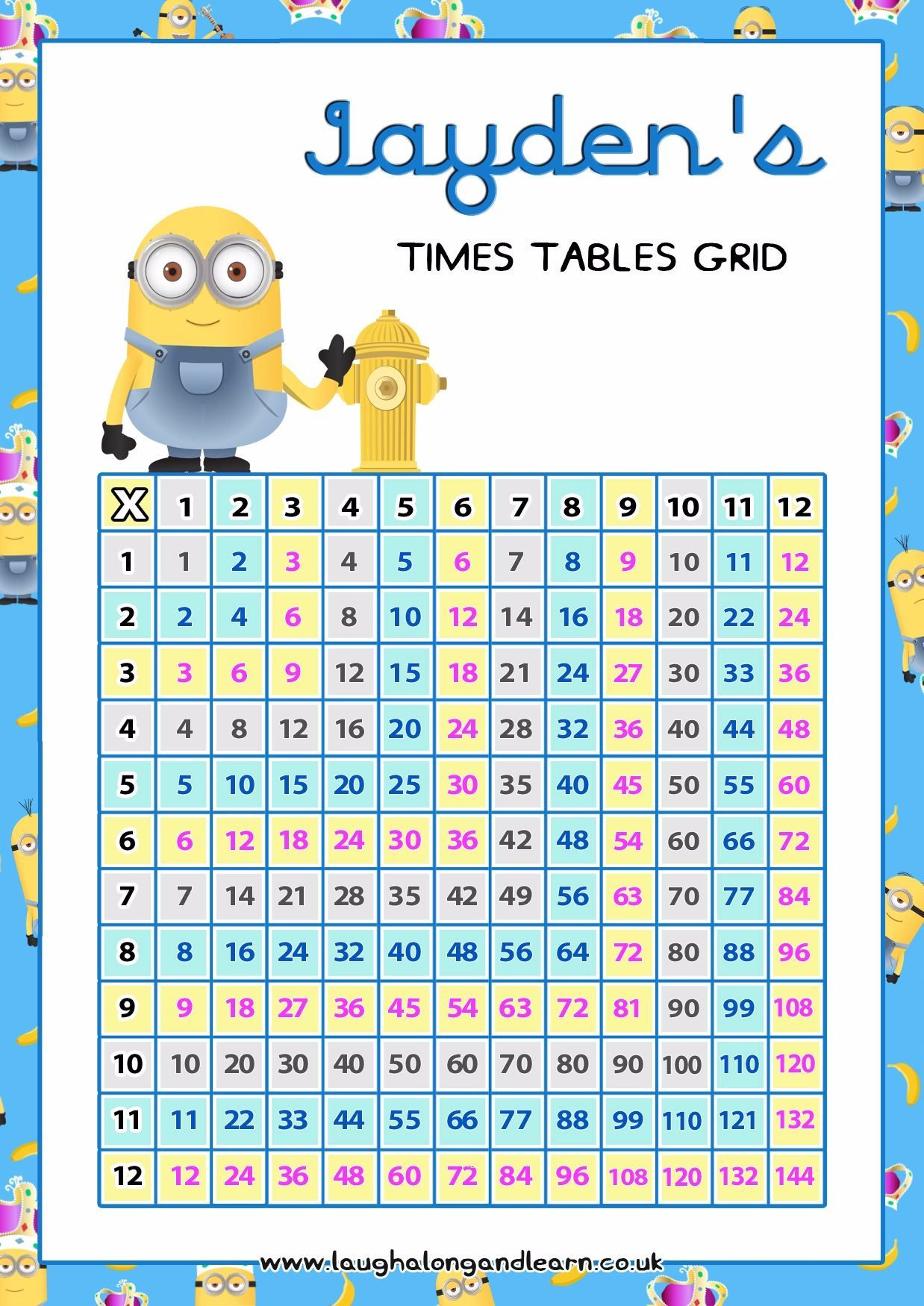 Free multiplication grid personalised times tables grids 20 multiplication tables charts formatted for quick printing geenschuldenfo Image collections