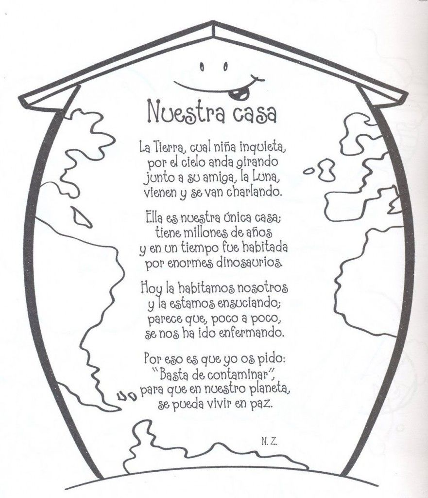 Enseñar A Los Niños A Reciclar Fichas Para Colorear Planeta Tierra Para Niños Poema De La Tierra Día De La Tierra