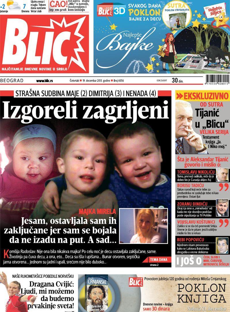 """Naslovna strana """"Blica"""" za 19. decembar 2013."""