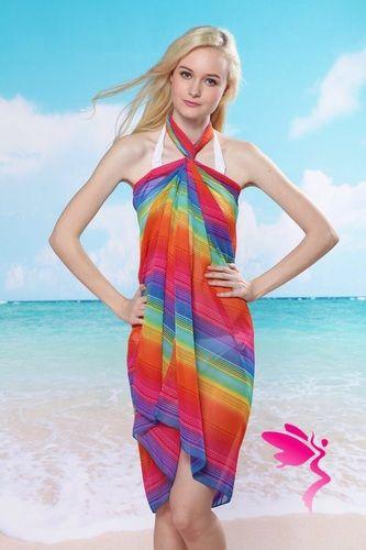 6e37c111a9 Rainbow Chiffon Beach Cover Up, $10.00   Beach Cover-Ups   Rainbow ...