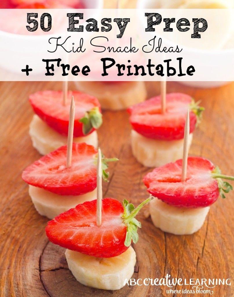 50 easy prep kid snack ideas printable snacks ideas for How to make homemade healthy snacks