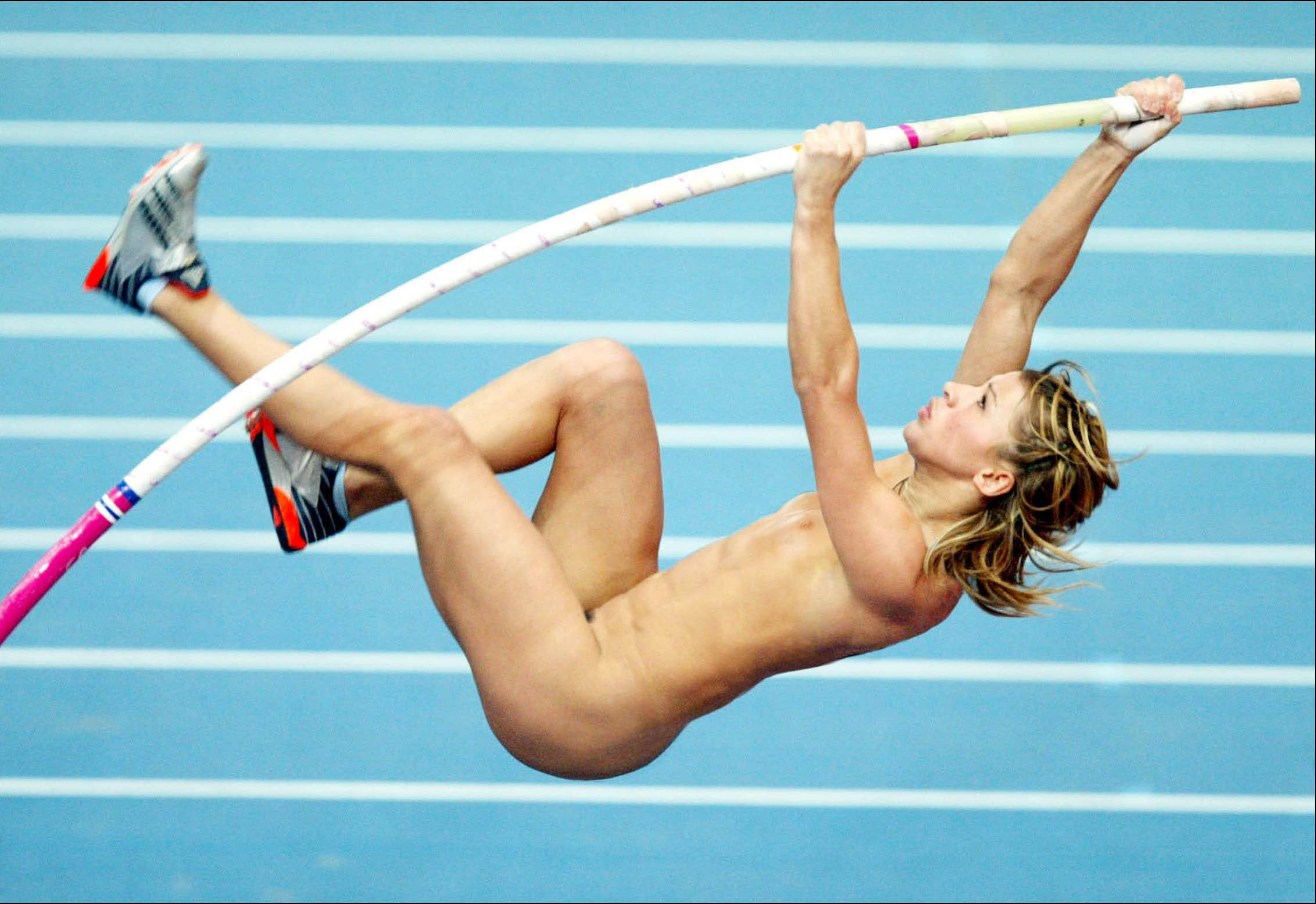 Improbable! French pole vaulter runs naked agree