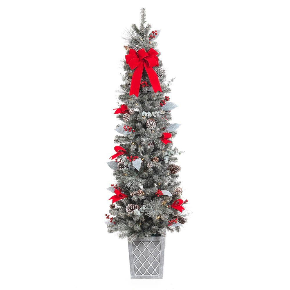 75 in. Pre-Lit Snowy Pine Porch Artificial Tree with 100 Clear ...