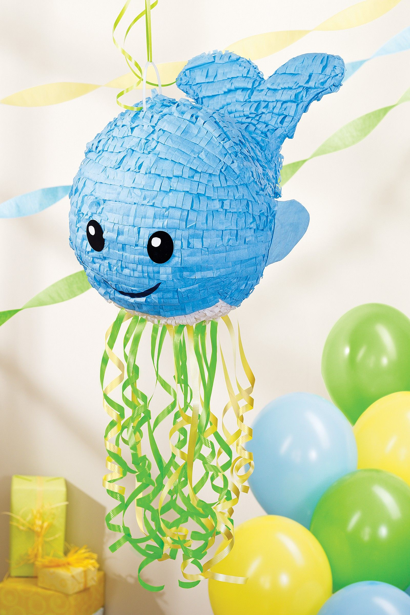 sweet whale pinata great for an early birthday or baby shower