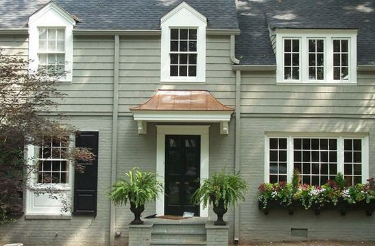Colonial House With Front Door Metal Awning   Google Search