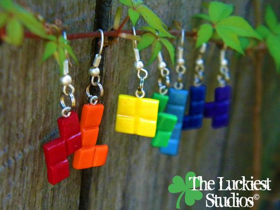 Polymer Clay Tetris Piece Earrings by TheLuckiestStudios on Etsy