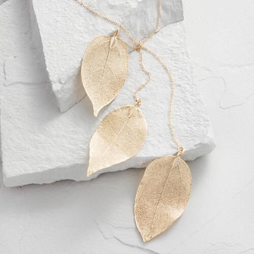 One of my favorite discoveries at WorldMarket.com: Gold Triple Leaf Pendant Necklace
